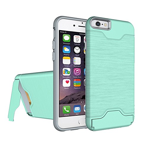 iPhone 6 6s case Wire Drawing Shockproof Armor Case TPU+PC Card Slot Holder for Apple 6s 6 4.7inch Hard Shock-Resistant Heavy Duty Armor Holster (Green)