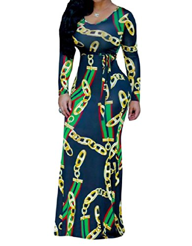 Print Picture Tunic Sleeve Long Chain As Women Dress Long Coolred African AxqZRwO