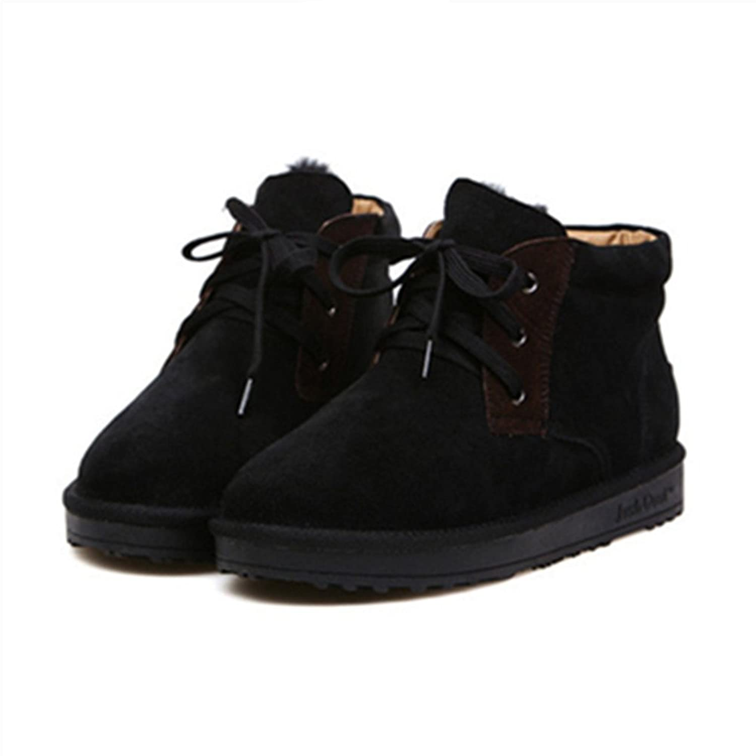 Men`s Martin Snow Boots Winter Warm Snow Boots Lace up Short Ankle Boots Black
