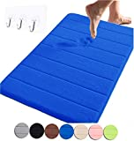 Yimobra Memory Foam Bath Mat Large Size 31.5 by 19.8 Inch,Maximum Absorbent,Soft,Comfortable,Non-Slip,Easier to Dry for Bathroom,Blue (Presented Wall Hooks 3 Pack)