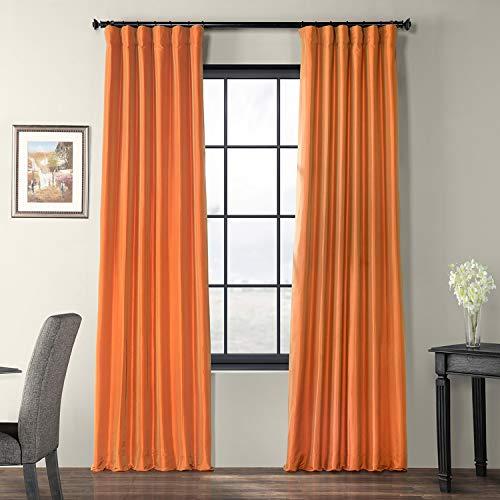 Half Price Drapes PTCH-JTSP205-96 Faux Silk Taffeta Curtain, Harvest Orange