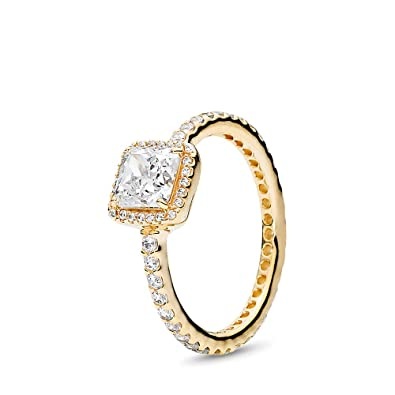 673b669a3 Amazon.com: PANDORA Timeless Elegance Ring, Gold 14K, Clear Cubic Zirconia,  Size 4.5: Jewelry