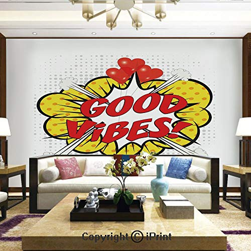 Lionpapa_mural Removable Wall Mural Ideal to Decorate Bedroom,or Office,Pop Art Comics Icon Blast Explosion Retro Quote Red Hearts Hipster Cartoon Decorative,Home Decor - 66x96 inches