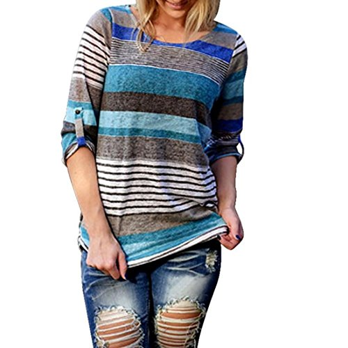 Blouses,Toraway Women Strip Long Sleeve Casual Shirt T-Shirt Tops