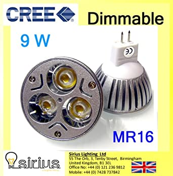 1 X Ultra Bright MR16 XR-CREE 3 * 3W 9W DIMMABLE Bombilla LED FOCO DE ...