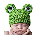 Newborn Baby Girl/Boy Crochet Knit Costume Photo Photography Prop Hats Outfits (Frog Hat)
