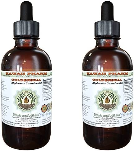 Goldenseal Alcohol-FREE Liquid Extract, Organic Goldenseal Hydrastis Canadensis Dried Leaf Glycerite 2×2 oz