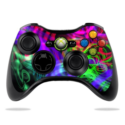 (MightySkins Skin For Microsoft Xbox 360 Controller - Neon Splatter | Protective, Durable, and Unique Vinyl Decal wrap cover | Easy To Apply, Remove, and Change Styles | Made in the USA)