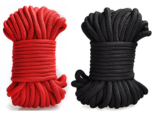 Sex Natural Cotton Rope, Aurken [Pack of 2] 32-foot 10m Long Soft Cotton Rope Restraint Rope SM Rope Climbing Camping Utility Rope Role Fun Game Play Kit Black and Red