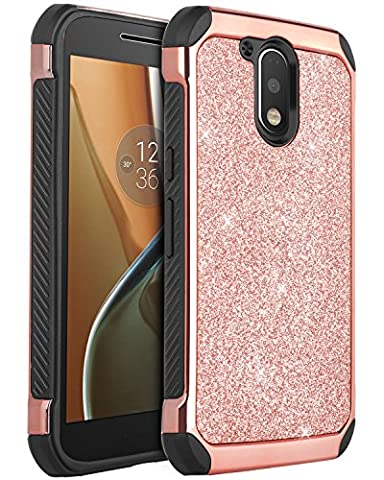 Moto G4 Case, Moto G4 Plus Case, BENTOBEN 2 in 1 Luxury Glitter Bling Hybrid Hard Cover Laminated with Sparkly Shiny Faux Leather Shockproof Bumper Protective Case for Moto G4/Moto G4 Plus, Rose (Bling Phone Cases For Moto G)