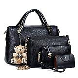 Women Handbag,Women Bag, Shoulder Bag Purse KINGH 4 Piece Tote Vintage Style PU Leather 018 Black
