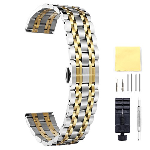 Stainless Steel Watch Bands 6 Color(Gold, Sliver, Black, Rose Gold, Gold/Rose Gold Two Tone) Multi Sizes(10mm to 26mm)