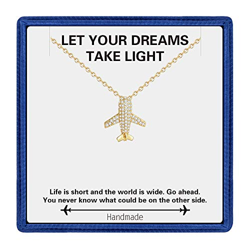 - Airplane Necklace for Birthday Gifts - Dainty 14K Gold Filled CZ Airplane Pendant Necklace for Teen Girl Gifts Inspirational Gifts for Women Birthday Gifts Travel Gifts Retirement Gifts for Women