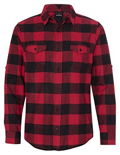 Burnside Yarn-Dyed Long Sleeve Flannel Shirt.B8210 X-Large Red / Black Buffalo - Red Flannel