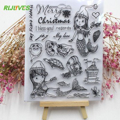 Cacys-Store - Christmas Mermaid Christmas Transparent Clear Silicone Stamp and Metal Cutting Dies for DIY scrapbooking photo album