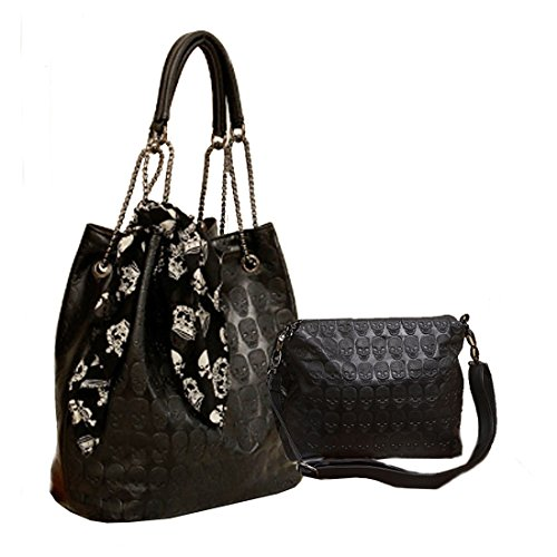 Womens Skull Print PU Leather Hobo Tote Shoulder Bag Package Handbag with Gift -