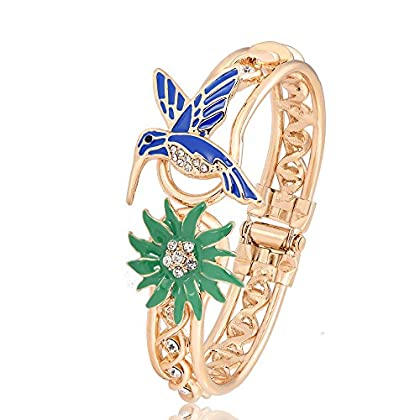 PANGRUI Exquisite Enamel Hummingbird and Grass Charm Bangle Bracelet with Cool Design Crystal Hoop