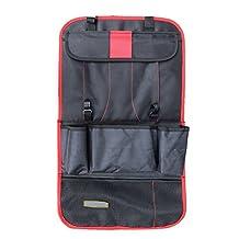 Mingus Car Back Seat Hanging Storage Bag Multi Pockets Vehicle Backseat Travel Organizer Keep Tidy - (Red)