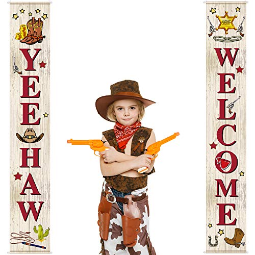 (West Cowboy Yee Haw Garland Party Decoration Set Cowboy Porch Sign Welcome Cowboy Banner Hanging Decoration for Indoor/Outdoor Western Cowboy Decoration Party Decorations)