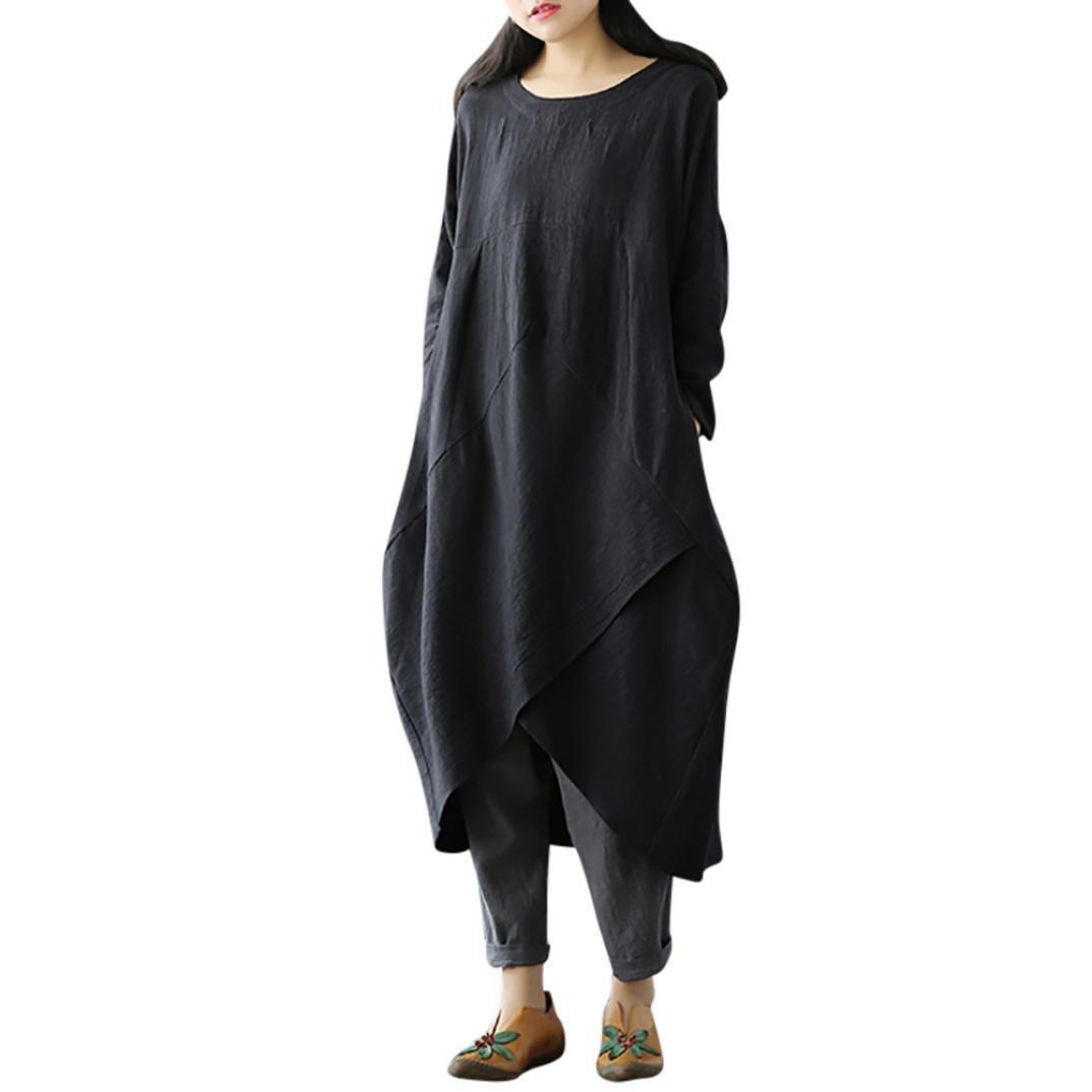 TUDUZ Frauen Vintage Langarm Tunika Baggy Long Boho Maxi Kleid Loose T-Shirt Kleid