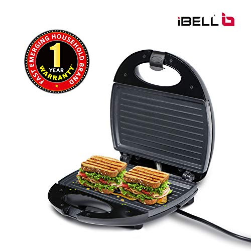 iBELL Two-Slice Sandwich Maker with Non Stick Coated Plates SM112 (750 Watts, Black/Grey) Price & Reviews