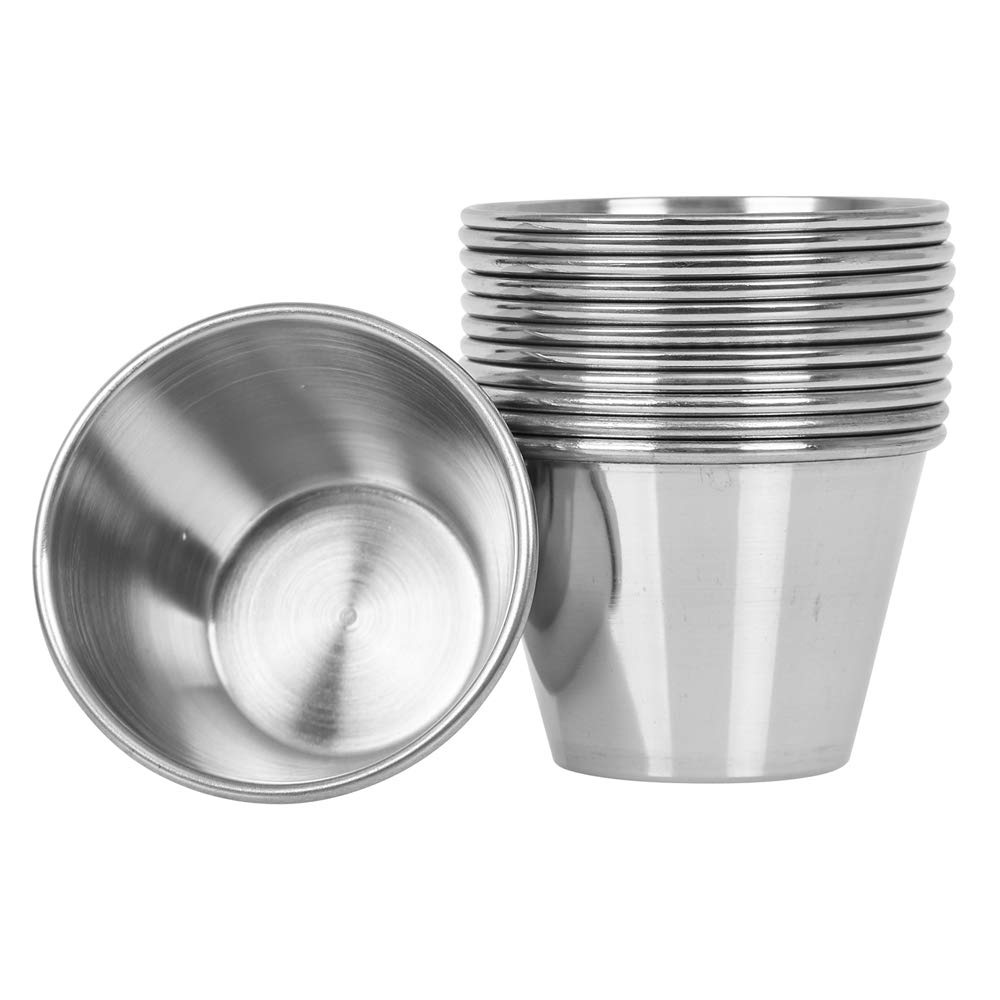 (24 Pack) Stainless Steel Sauce Cups 2.5 oz, Commercial Grade Dipping Sauce Cups, Individual Condiment Sauce Cups / Ramekins by Tezzorio