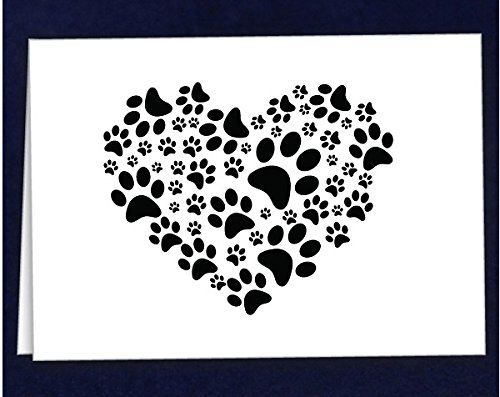 Black Paw Print Heart Note Cards (1 Pack - 12 Cards/Envelopes)