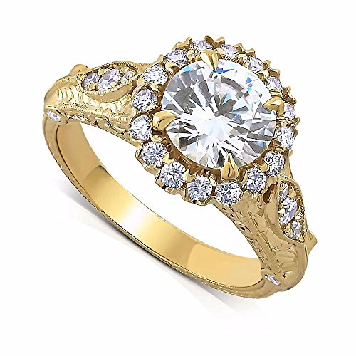 te Diamonds Hand Carved Halo Antique Reproduction Filigree Engagement Ring ()