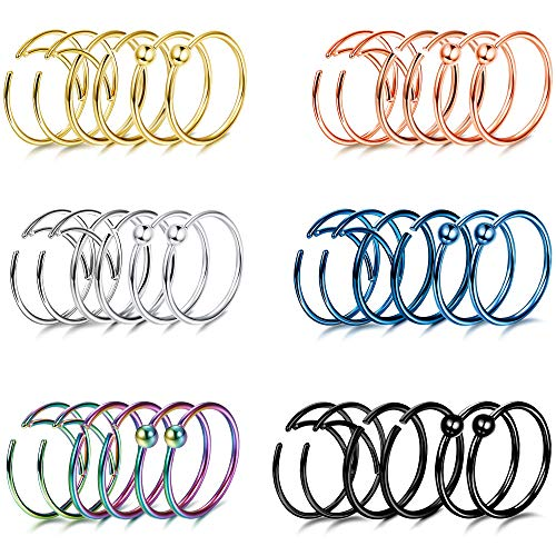 Udalyn 36 Pcs Hoop Nose Rings for Women Surgical Steel Moon Cartilage Tragus Helix Septum Rings Body Piercing Jewelry 20 G 8MM