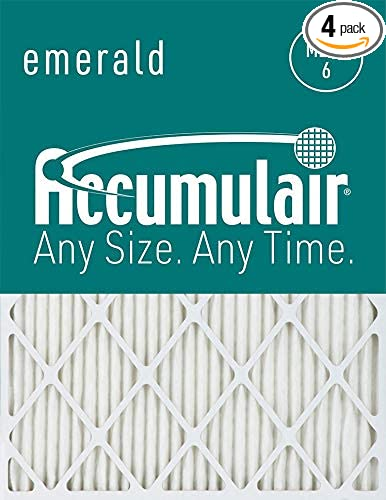 4 ACCUMULAIR EMERALD PLEATED MERV 6 HOME AIR FILTERS FURNACE CONDITIIONING LARGE