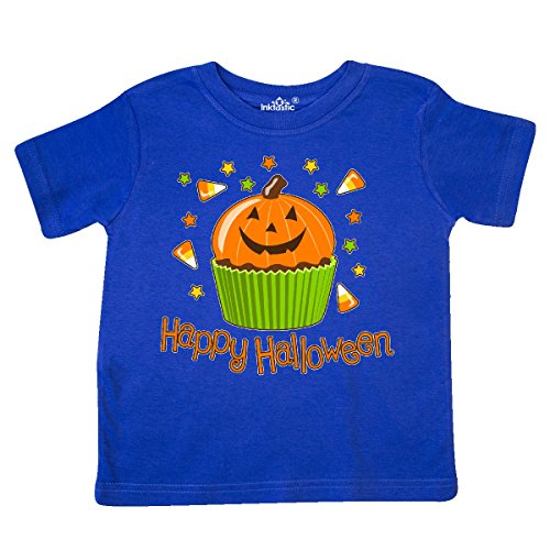 Inktastic - Happy Halloween- cute pumpkin cupcake Toddler T-Shirt 2T Royal (Halloween Cupcakes For Preschoolers)