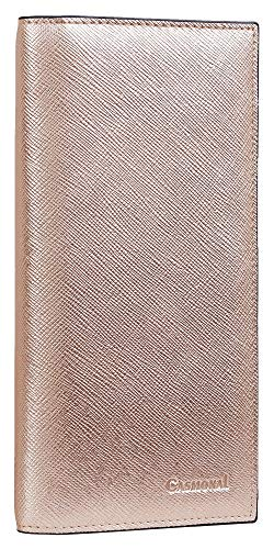 Casmonal Genuine Leather Checkbook Cover For Men & Women Checkbook Holder Wallet RFID Blocking(rose gold)