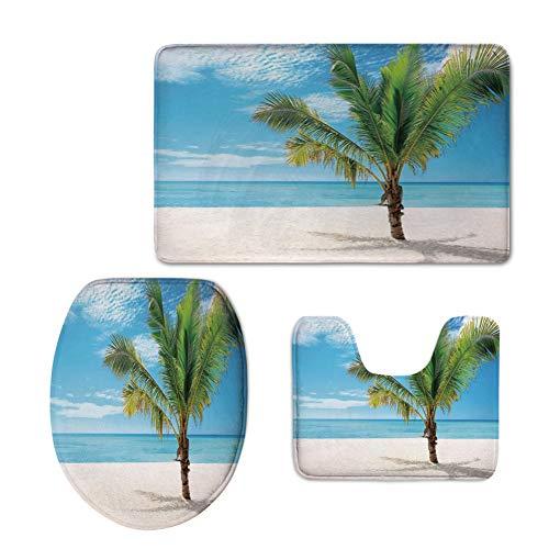Fashion 3D Baseball Printed,Tropical,Exotic Beach with Palm Tree in Saona Island Sunny Summer Day Seaside Photo,Blue Cream Green,U-Shaped Toilet Mat+Area Rug+Toilet Lid Covers 3PCS/Set -