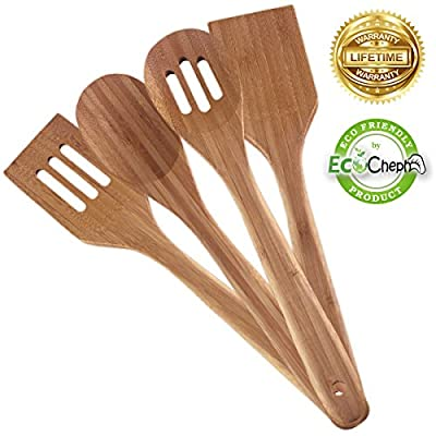 EcoCheph 4-Piece Eco-friendly Non Scratch Natural Bamboo Utensil Set by Kehn Creations