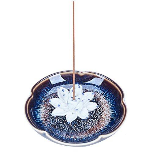 (UOON Incense Stick Burner Holder with Ash Catcher- Handmade Ceramic Lotus Flower Incense Burner Bowl Tray Plate (Lake Blue))