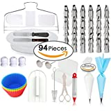 94 pcs Cake Decorating Supplies, Professional Cupcake Decorating Kit, Rotating Turntable Stand, Baking Supplies, Icing Spatula & Smoother, Frosting & Pipings Bags, Pastry tools, Cupcake Silicone Molds