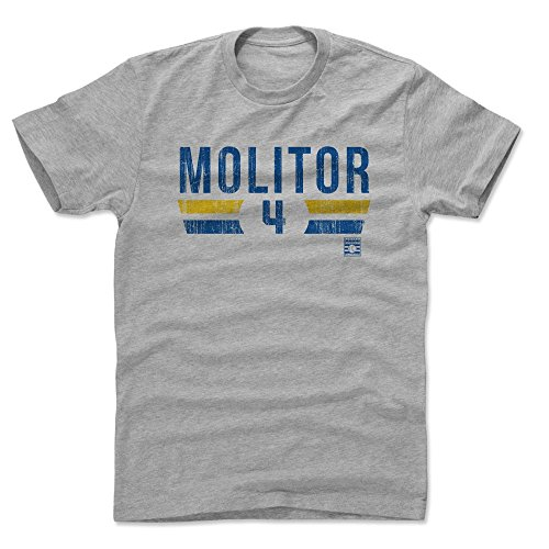 500 LEVEL Paul Molitor Cotton Shirt Large Heather Gray - Vintage Milwaukee Baseball Men's Apparel - Paul Molitor Font BY