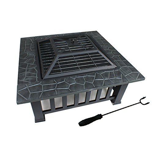 Fire Outdoor Fireplace (F2C Outdoor Heavy Steel Fire Pit Wood Burning Fireplace Patio Backyard Heater Steel Firepit Square W/ Waterproof Dust Cover)