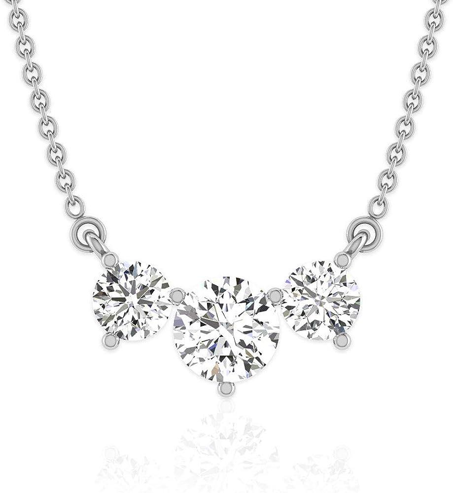 Collar con colgante de tres piedras con certificación IGI de 0,38 ct, para mujer IJ-SI Diamond Trio, colgante de oro, regalo de aniversario de boda, colgante de promesa