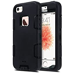 Iphone 5s Case, Iphone 5 Case,iphone Se Case, Ulak Knox Armor Heavy Duty Shockproof Sport Rugged Drop Resistant Dustproof Protective Case Cover For Apple Iphone 5 5s Se -Black
