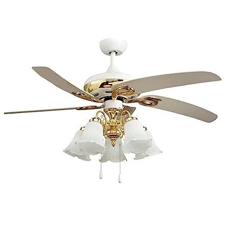 Lámpara de ventilador colgante chapada en oro de estilo europeo ...