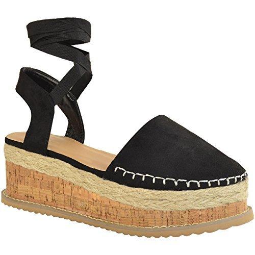 Fashion Thirsty heelberry Mujer Plataforma con Cordones Tiras Plataforma Plana Sandalias De Verano Zapatos Cuña Tallas Negro Ante Artificial
