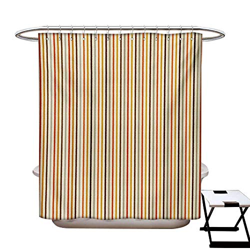 BlountDecor Vintage Shower Curtains 3D Digital Printing Retro Nostalgic 60s 70s Fashion Stripes Vertical Pattern Vintage Custom Made Shower Curtain W48 x L72 Orange Mustard Dust Cream