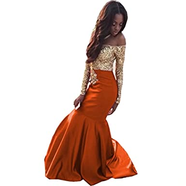 Ladsen Gold Lace Appplique Prom Dresses Long Sleeves Prom Ball Gown L295 Orange US0 Size