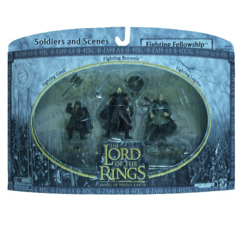 2004 - New Line / Play Along - Lord of the Rings : Armies of Middle Earth - Fighting Fellowship w/ Gimli / Boromir / Legolas - Soldiers & Scenes - Battle Scale Figures - Out of Production - Limited Edition - Collectible Battle Scale Figures