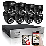 ZOSI 8CH Video DVR 900TVL Security Camera System 8 Indoor/Outdoor Weatherproof Night Vision Surveillance Cameras 1TB Hard Drive Included (8CH - 8 Cameras)