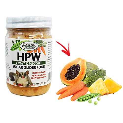 (Exotic Nutrition Sugar Glider HPW Diet Fruit & Veggie 12 oz. Jar - High Protein Sugar Glider Food)