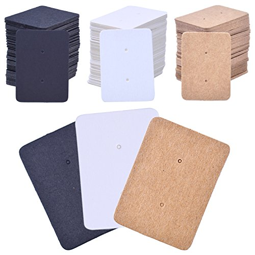 BronaGrand 300 Pcs Paper Earring Tags Mini Rectangle Ear Stud Display Cards Hanging Holder, 1 x 1.4
