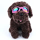 Doggles Goggles for Mid & Big Dogs from Perla & Gaius offer UV Protection Waterproof with Foldable Sunglasses Lenses, Polarized Sunglasses with Adjustable Strap (Pink)