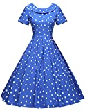 GownTown Women's 1950s Polka Dot Vintage Dresses Audrey Hepburn Style Party Dresses,Royal Blue,Medium
